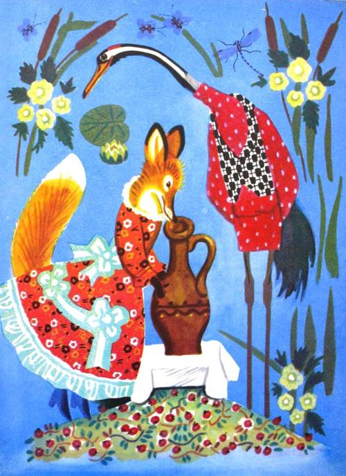 сказка лиса и журавль на белорусском языке