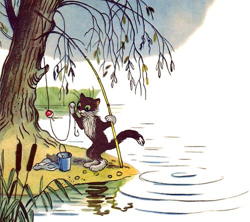 картинки кот рыбак