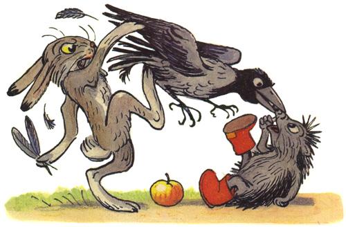 Раскраска к сказке сутеева яблоко